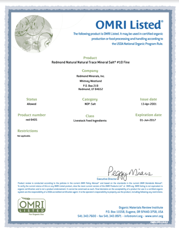Conditioner Certification for Crop Fertilizers and Soil Amendments