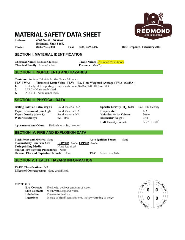 Redmodn Conditioner MSDS Preview