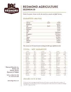 Redmond Agriculture Conditioner Analysis