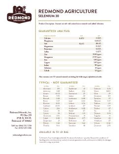 Redmond Agriculture Selenium 30